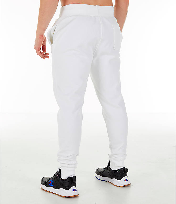 Back Left view of Men's Champion Reverse Weave Small Logo Jogger Pants in White