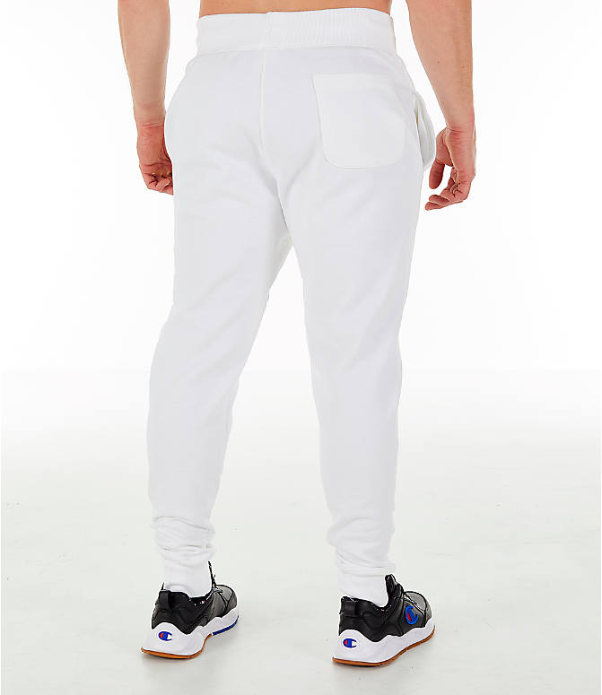 Back Right view of Men's Champion Reverse Weave Small Logo Jogger Pants in White