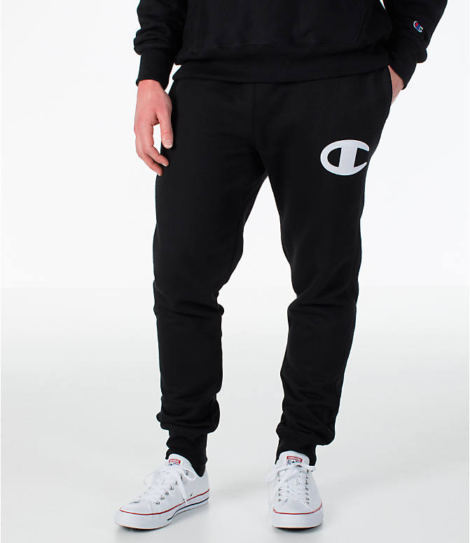 Front view of Men's Champion Reverse Weave Jogger Pants in Black/White