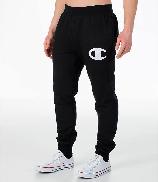 Front Three Quarter view of Men's Champion Reverse Weave Jogger Pants in Black/White