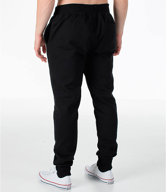 Back Left view of Men's Champion Reverse Weave Jogger Pants in Black/White