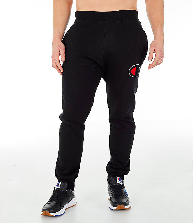 Front Three Quarter view of Men's Champion Reverse Weave Big C Chenille Jogger Pants in Black