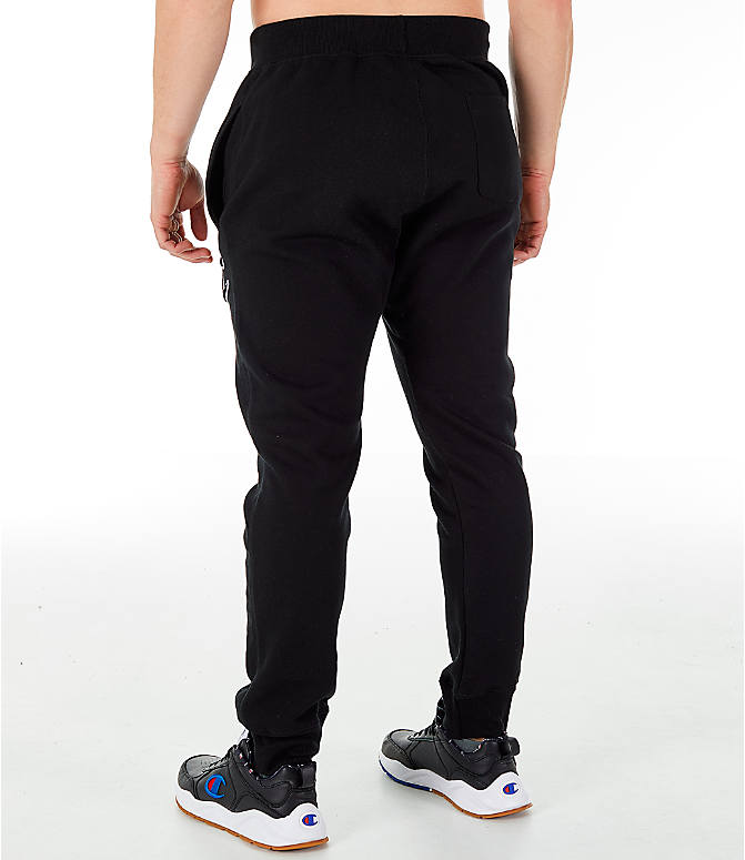 Back Left view of Men's Champion Reverse Weave Big C Chenille Jogger Pants in Black