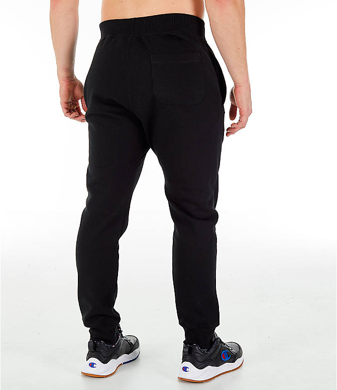 Back Right view of Men's Champion Reverse Weave Big C Chenille Jogger Pants in Black