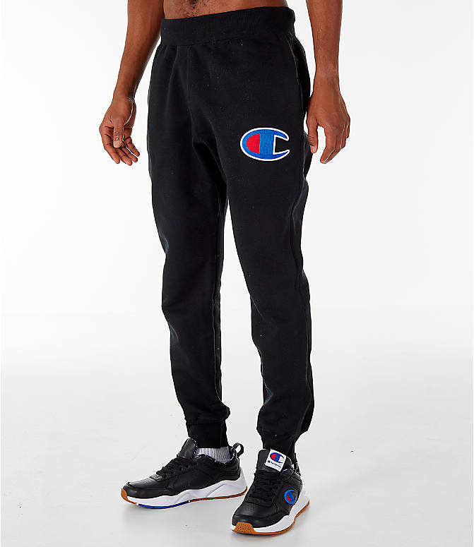 Front Three Quarter view of Men's Champion Reverse Weave Jogger Pants in Black