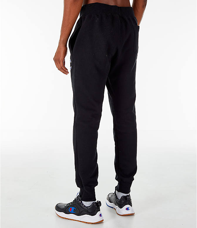 Back Left view of Men's Champion Reverse Weave Jogger Pants in Black