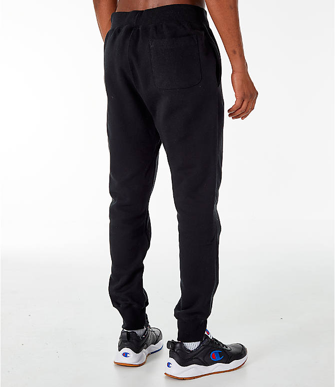 Back Right view of Men's Champion Reverse Weave Jogger Pants in Black