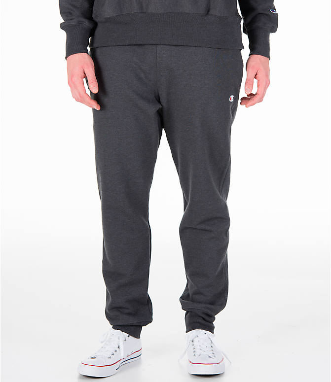 Front view of Men's Champion Reverse Weave Jogger Pants in Granite Heather