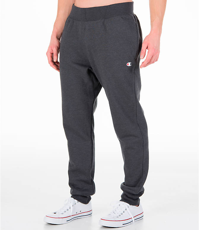 Front Three Quarter view of Men's Champion Reverse Weave Jogger Pants in Granite Heather