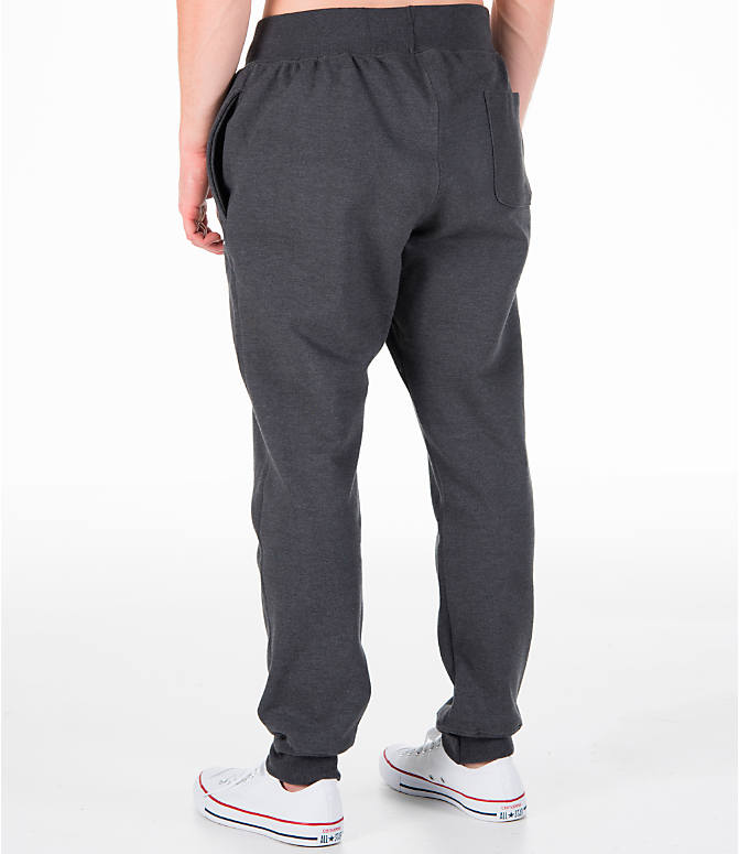 Back Left view of Men's Champion Reverse Weave Jogger Pants in Granite Heather