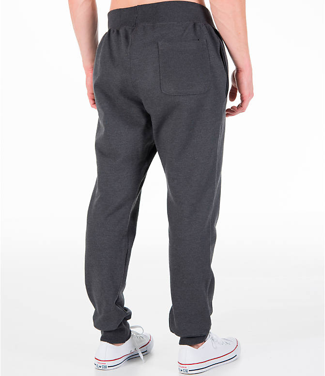 Back Right view of Men's Champion Reverse Weave Jogger Pants in Granite Heather