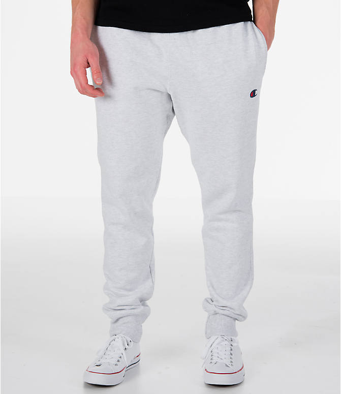 Front view of Men's Champion Reverse Weave Jogger Pants in Silver Grey