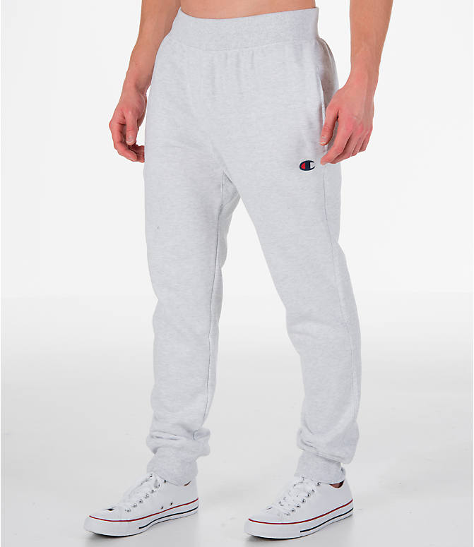 Front Three Quarter view of Men's Champion Reverse Weave Jogger Pants in Silver Grey