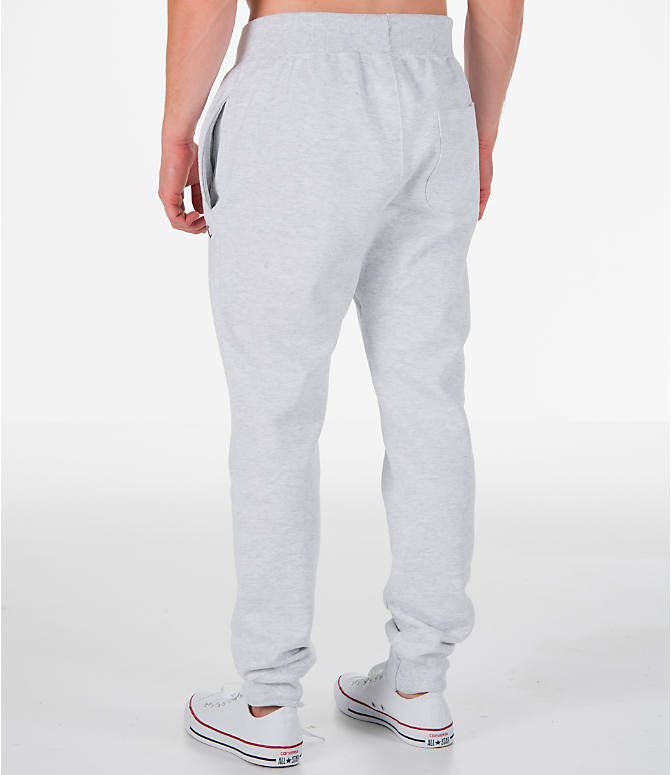 Back Left view of Men's Champion Reverse Weave Jogger Pants in Silver Grey