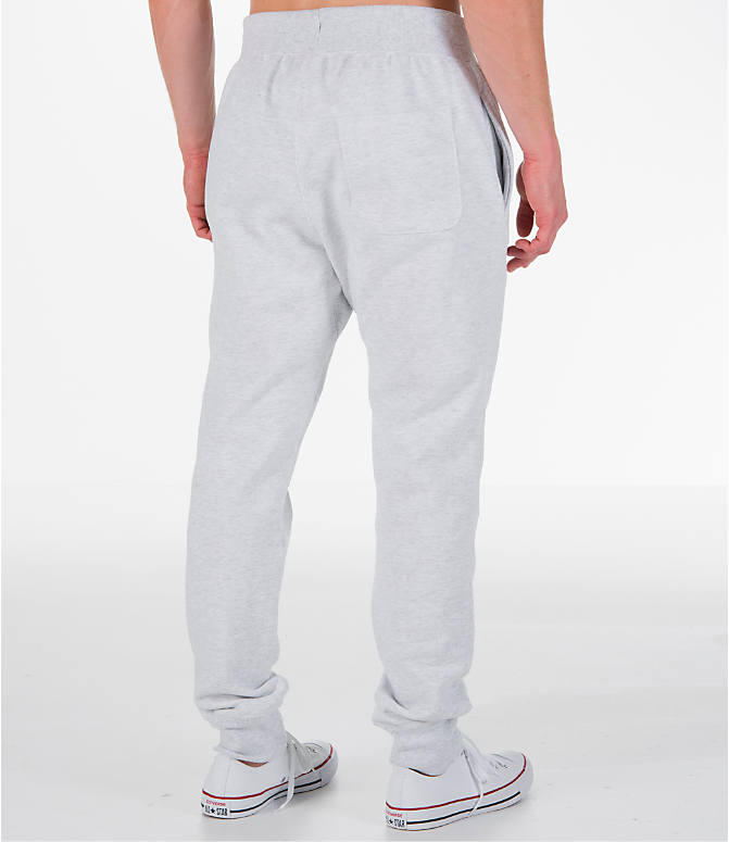 Back Right view of Men's Champion Reverse Weave Jogger Pants in Silver Grey