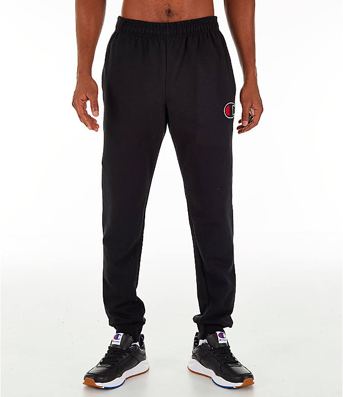 Front Three Quarter view of Men's Champion Powerblend Jogger Pants in Black