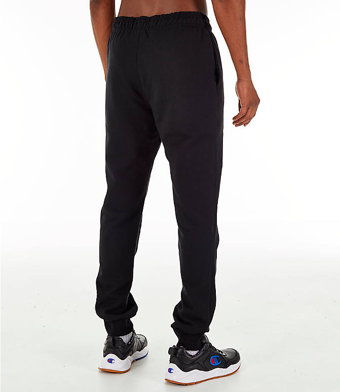 Back Right view of Men's Champion Powerblend Jogger Pants in Black