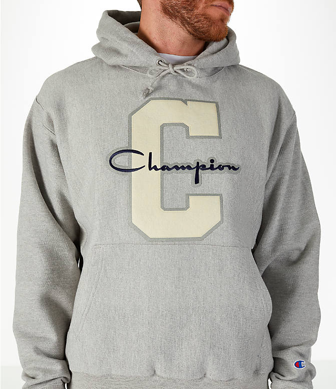 Detail 1 view of Men's Champion Reverse Weave Graphic Hoodie in White