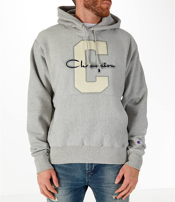 Front view of Men's Champion Reverse Weave Graphic Hoodie in White