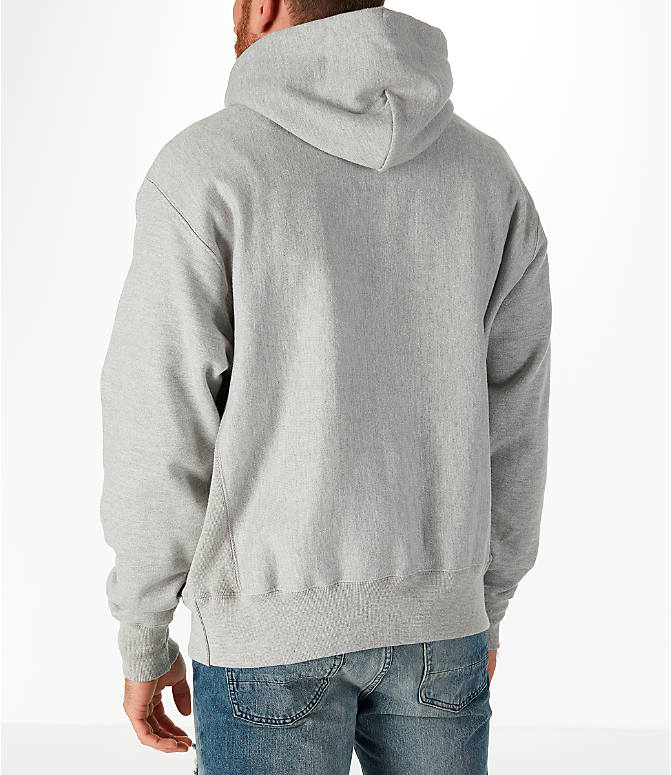 Back Left view of Men's Champion Reverse Weave Graphic Hoodie in White