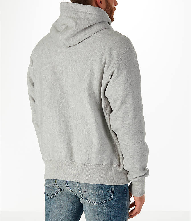 Back Right view of Men's Champion Reverse Weave Graphic Hoodie in White