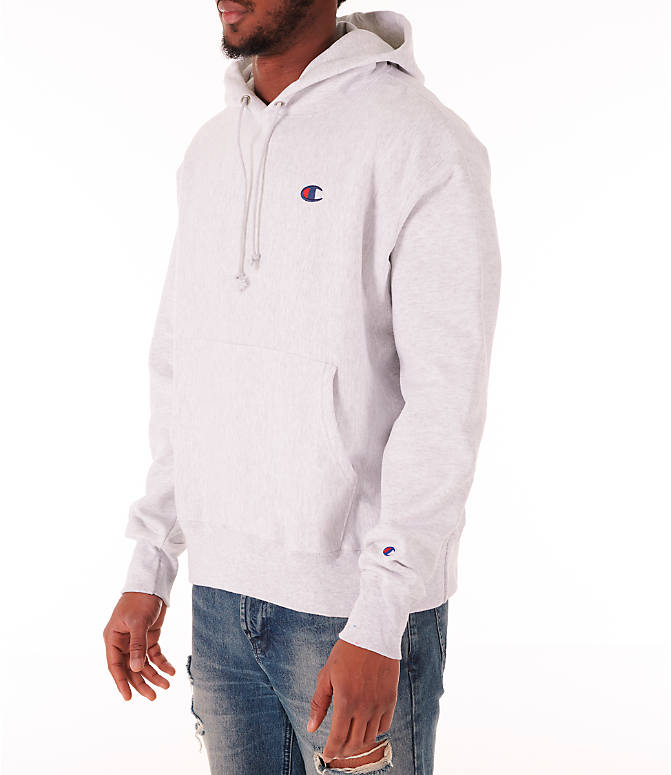 Front Three Quarter view of Men's Champion Reverse Weave Flock Hoodie in Grey