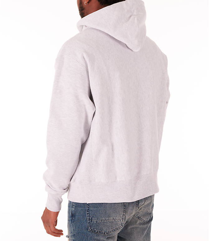 Back Left view of Men's Champion Reverse Weave Flock Hoodie in Grey