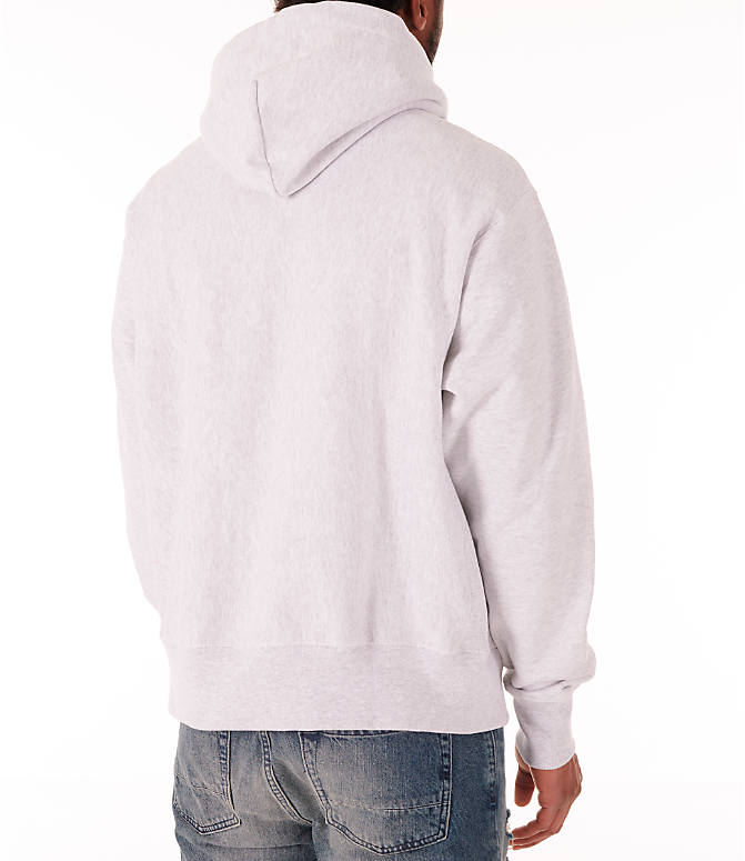 Back Right view of Men's Champion Reverse Weave Flock Hoodie in Grey