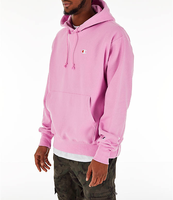 Front Three Quarter view of Men's Champion Reverse Weave C Logo Hoodie in Pink