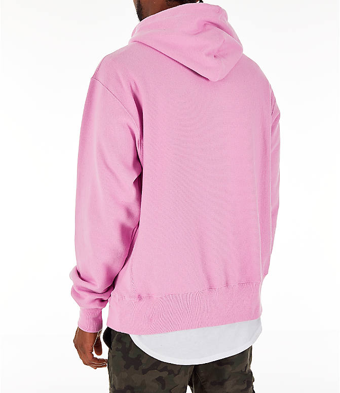 Back Left view of Men's Champion Reverse Weave C Logo Hoodie in Pink