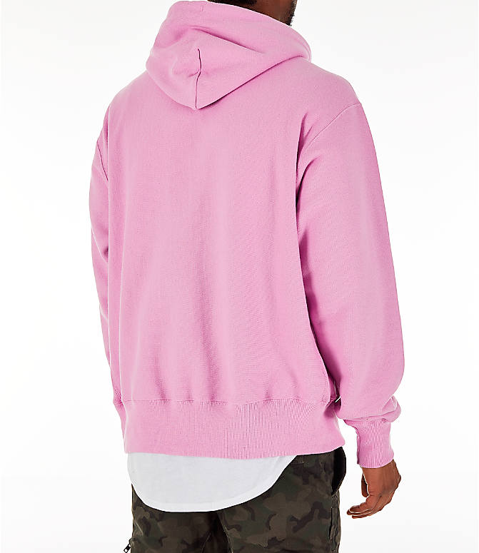 Back Right view of Men's Champion Reverse Weave C Logo Hoodie in Pink