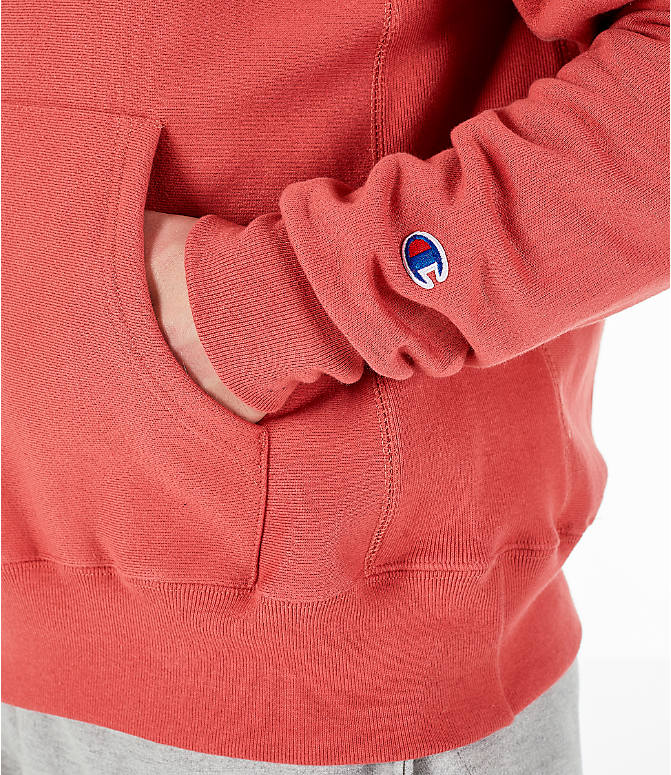Detail 2 view of Men's Champion Reverse Weave Pullover Hoodie in Picante Pink