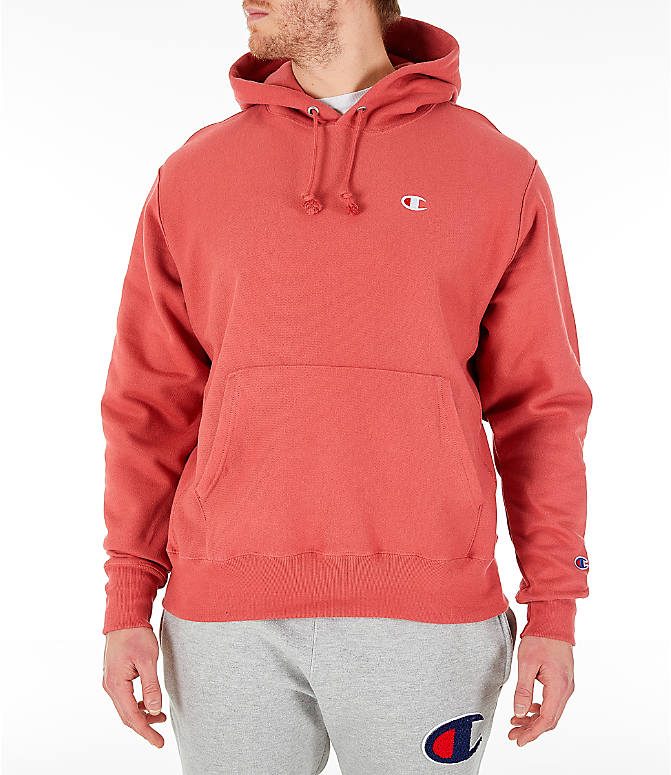 Front view of Men's Champion Reverse Weave Pullover Hoodie in Picante Pink