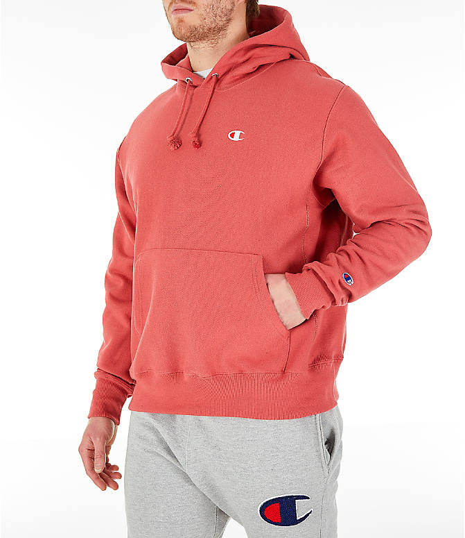 Front Three Quarter view of Men's Champion Reverse Weave Pullover Hoodie in Picante Pink