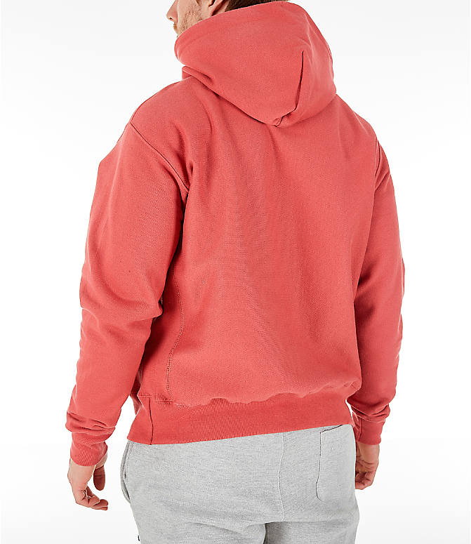 Back Left view of Men's Champion Reverse Weave Pullover Hoodie in Picante Pink