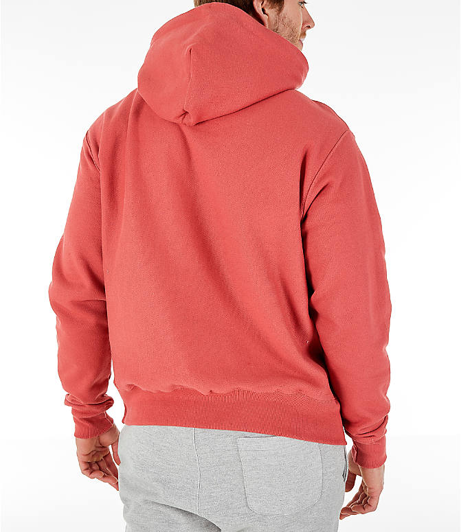 Back Right view of Men's Champion Reverse Weave Pullover Hoodie in Picante Pink