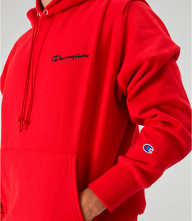 Detail 1 view of Men's Champion Reverse Weave Embroidered Logo Hoodie in Red