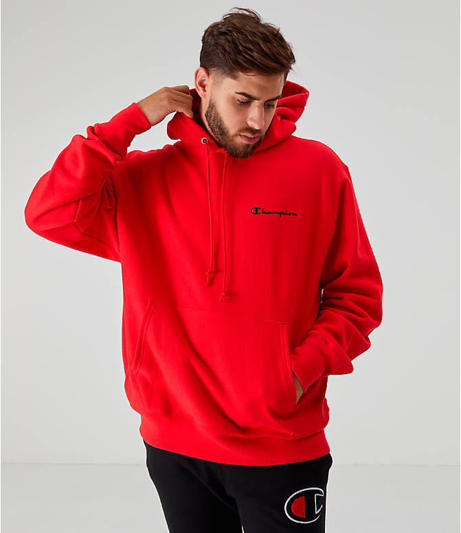 Front view of Men's Champion Reverse Weave Embroidered Logo Hoodie in Red