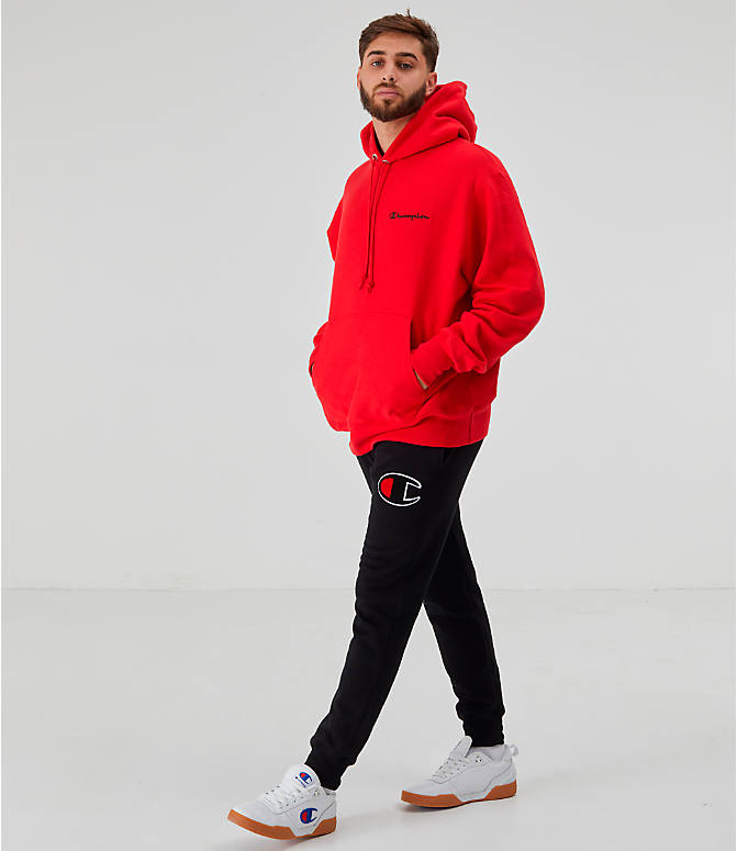 Front Three Quarter view of Men's Champion Reverse Weave Embroidered Logo Hoodie in Red
