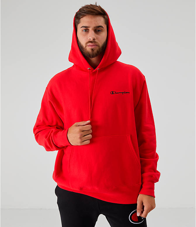 Back Left view of Men's Champion Reverse Weave Embroidered Logo Hoodie in Red