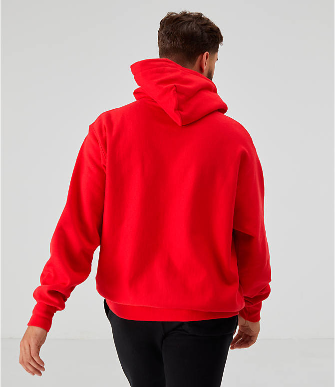 Back Right view of Men's Champion Reverse Weave Embroidered Logo Hoodie in Red