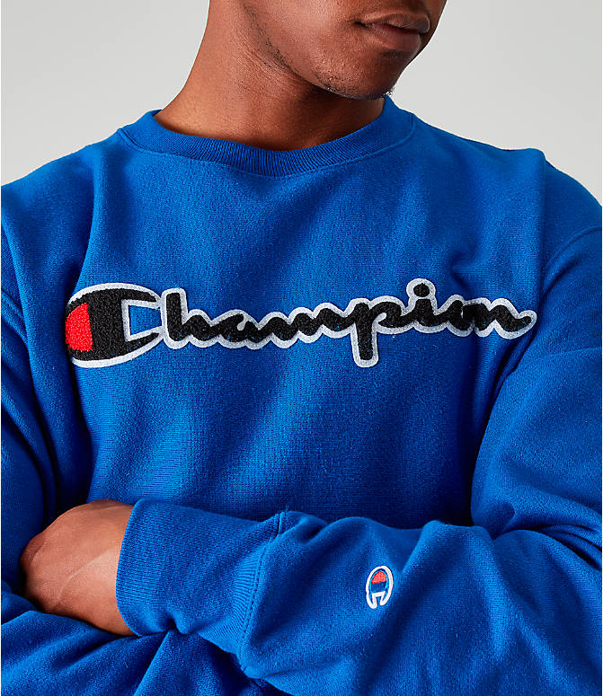 Detail 1 view of Men's Champion Reverse Weave Embroidered Logo Hoodie in Royal