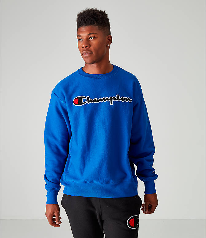 Front view of Men's Champion Reverse Weave Embroidered Logo Hoodie in Royal