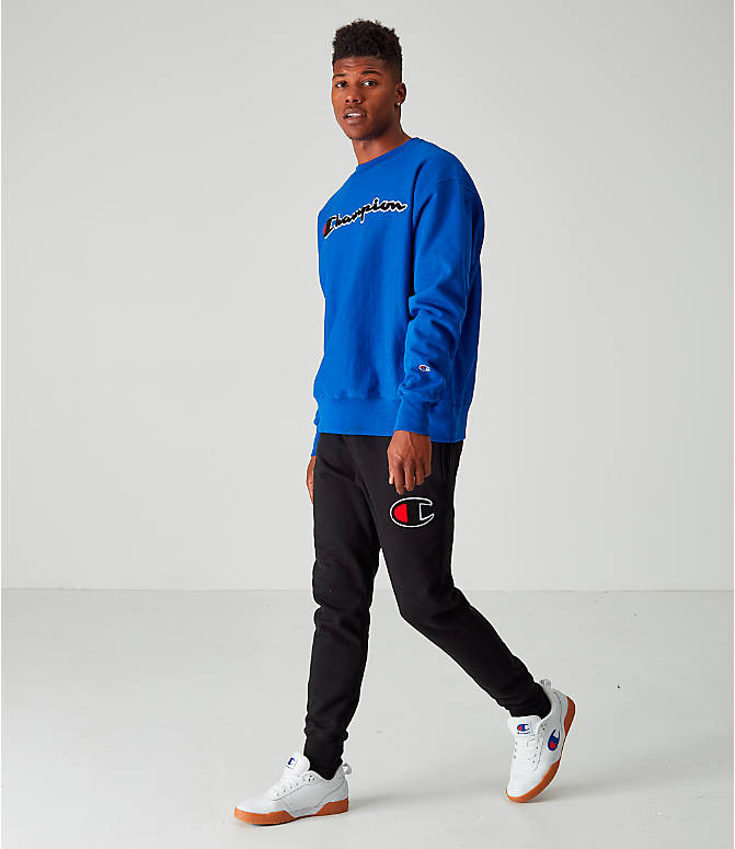 Front Three Quarter view of Men's Champion Reverse Weave Embroidered Logo Hoodie in Royal