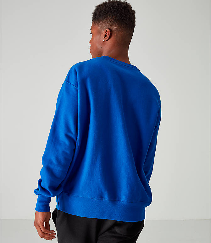 Back Left view of Men's Champion Reverse Weave Embroidered Logo Hoodie in Royal
