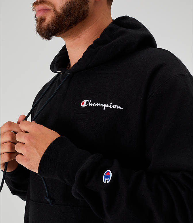 Detail 1 view of Men's Champion Reverse Weave Embroidered Logo Hoodie in Black
