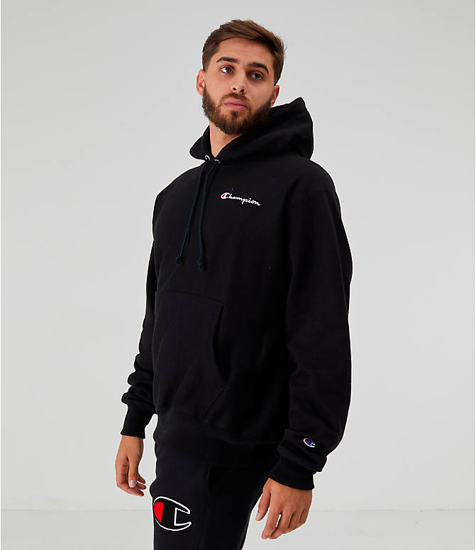 Front view of Men's Champion Reverse Weave Embroidered Logo Hoodie in Black