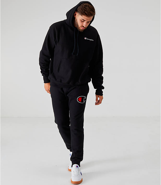 Front Three Quarter view of Men's Champion Reverse Weave Embroidered Logo Hoodie in Black