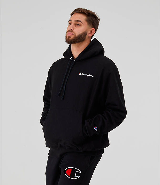 Back Left view of Men's Champion Reverse Weave Embroidered Logo Hoodie in Black