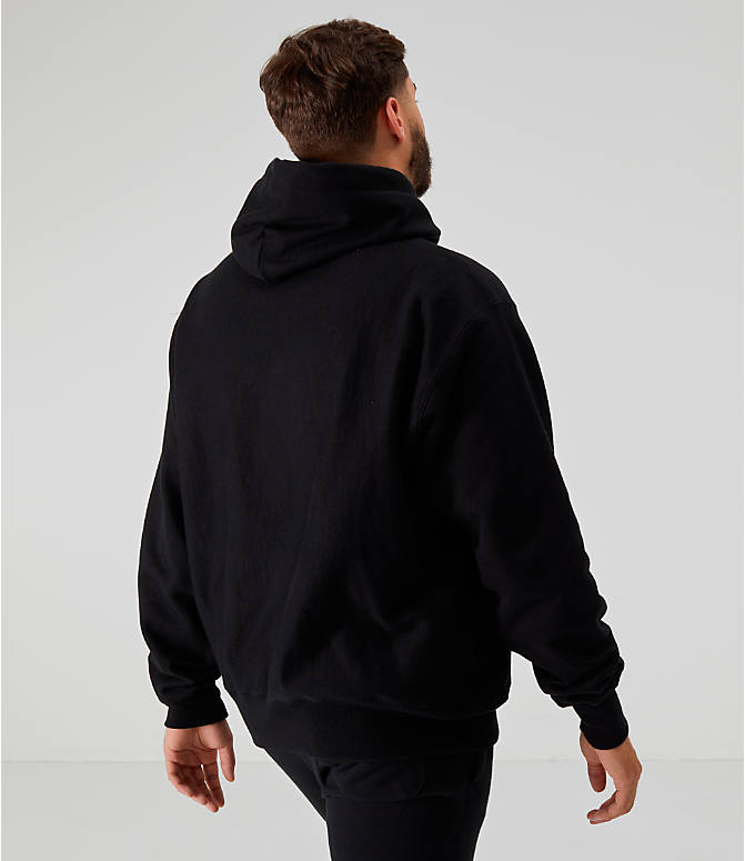 Back Right view of Men's Champion Reverse Weave Embroidered Logo Hoodie in Black